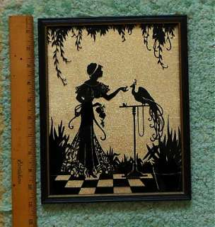 ART DECO VINTAGE REVERSE PAINTING ON GLASS SILHOUETTE |