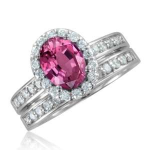 Natural Pink Sapphire Diamond Engagement Wedding Ring Bridal Set 18k