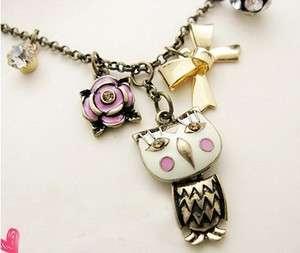 Lovely vtg Owl Pink Flower Gold tone Bow Pendant themed biker gothic