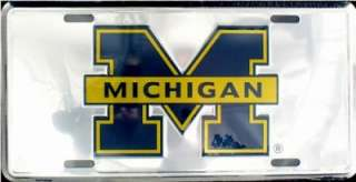 MICHIGAN WOLVERINES DLX CHROME LICENSE TAG AUTO PLATE