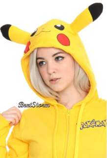 Pikachu Ears Face Tail Yellow Zip Hoodie Hoody Anime Cosplay Nintendo