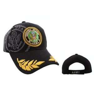 BLACK United States Army Baseball Cap/ Hat with Double Golden Wreaths