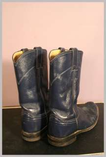 Vintage 80s Navy Blue Leather Round Toe JUSTIN Roper Cowboy Boots 6 C