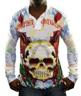 CHRISTIAN AUDIGIER Ed Hardy Mens Skull Tattoo Henley Long Sleeve Shirt