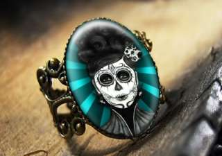 Dia De Los Muertos Dead Girl Antique Bronze Ring 542 AR