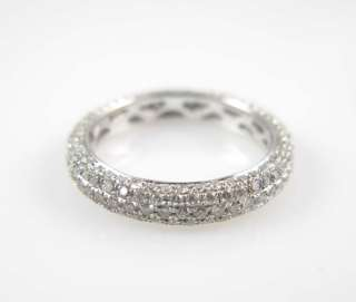 Ladies 14K White Gold Diamond Eternity Band Ring 1.15ct
