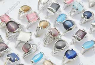 wholesale lots of 25pieces Cat Eye stone silver rings