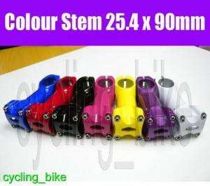 Colour Bicycle Stem   90mm x 25.4   cycling MTB road fixed gear track