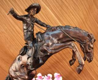 BRONCO BUSTER by Frederic Remington Bronze & Marble Sculpture Statue