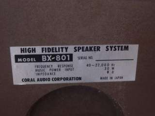 Pair Vintage Coral Audio Bookshelf Speakers BX 801