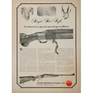 1967 Ad Sturm Ruger No. 1 Single Shot Rifle Hunting Gun
