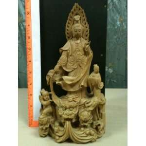 Quan Yin Carved Wooden Statue
