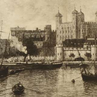 Lucien Gautier Tower of London Etching Print Picture