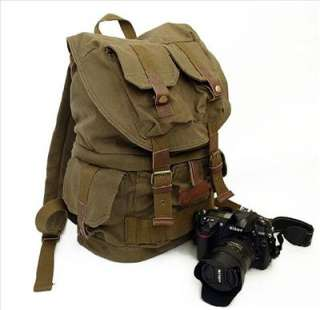 Army Green COURSER Canvas DSLR Camera Backpack Rucksack Bag For Canon