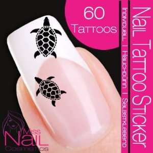 Nail Tattoo Sticker Turtle / Tortoise   black: Beauty