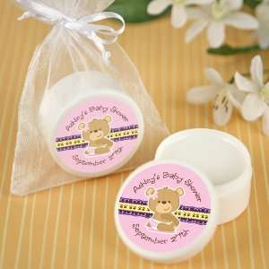 Baby Girl Teddy Bear   Personalized Lip Balm Baby Shower Favors Baby