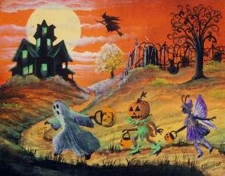 Halloween Art Witches Haunted House Children Ghost Pumpkin Boy Byrum
