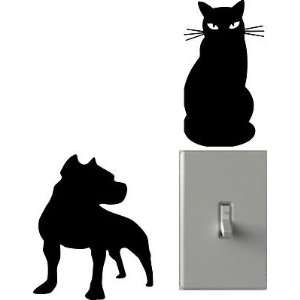Cat And Pitbull   Light Switch Decals   Custom Vinyl Wall Art   Made