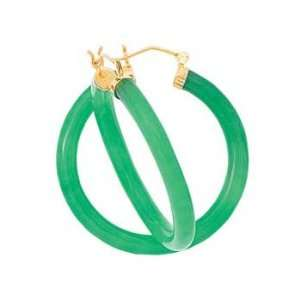 14K Yellow Gold Green Jade Hoop Earrings Katarina Jewelry