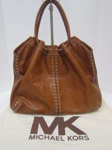 Authentic Michael Kors Large Astor carmel Brown leather handbag Tote