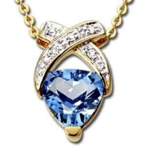 Trillion Cut Blue Topaz, Round Brilliant Cut Diamonds, 14Kt. Yellow