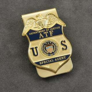 ATF Justice DOJ Special Agent Badge Money Clip Gold NEW