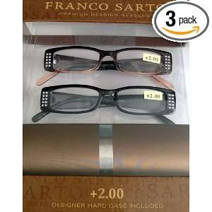 Franco Sarto Designer Premium Reading Glasses +2.00 Black Jewels