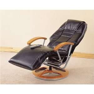 MASSAGE RECLINER CHAIR BLACK LEATHER
