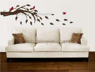 Tree Branch With Leaves and Birds Vinyl Decal Wall Stickers Mural Art