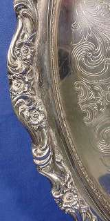 , Vintage HEAVY Silver Plate On Copper Gallery Serving Tray