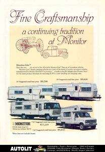 1982 Monitor Lite Motorhome RV Travel Trailer Ad