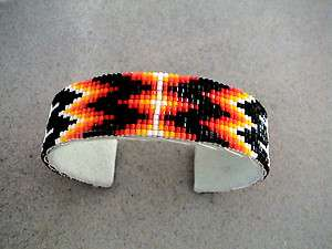 Auth.Native American Indian Hex Beaded Bracelet/ Leather Lined