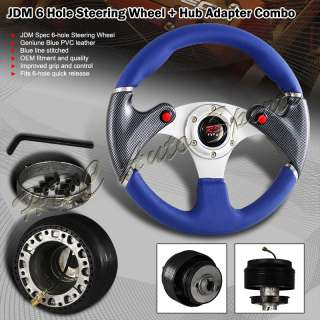 UNIVERSAL JDM 320MM 6 HOLE BLUE / BLACK LEATHER STEERING WHEEL + HUB
