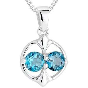 Round Cut London Blue Topaz Pendant Necklace Sterling Silver Rhodium