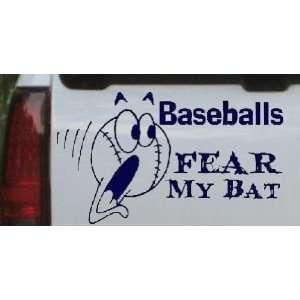 Navy 26in X 15.0in    Baseballs Fear My Bat Sports Car Window Wall