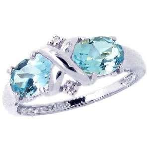 White Gold Crisscross Twin Oval Gemstone Ring Sky Blue Topaz, size5.5