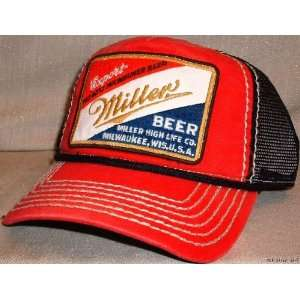 : MILLER Beer Logo Embroidered Mesh Baseball Cap HAT: Everything Else