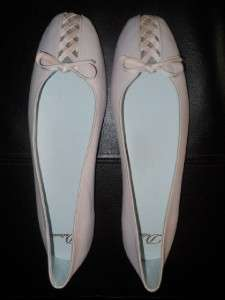 NWOB Delman Baby Pink Leather Ballerina Shoes w/Bow & Criss Cross