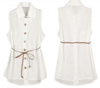 Sleeveless Shirt Chic Tank Top Blouse Belt 2 Solid Colors Z
