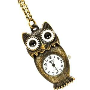 Belly Owl Necklace Watch on LONG 32 Antique Gold Tone Chain Jewelry