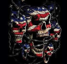 Skull T Shirt Patriotic Skulls American Flag & Barb Wire Tee