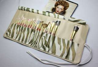 18 pcs Beautiful Professional Makeup Brush Set with Leather Cosmetic