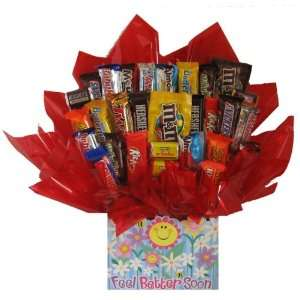 Candy bouquet in a Feel Better Soon Get Well box
