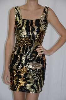 Tie by Oleg Cassini Gold Black Leopard Tiger Print Sequin Dress
