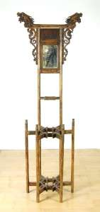 ANTIQUE NATIURAL WOOD WASH STAND Mirror Double Dragon B