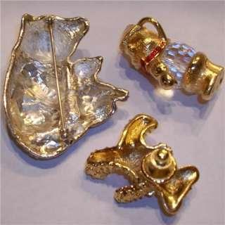 Retired Swarovski Swan Signed Teddy Bear Pendant Pin Brooch Crystal