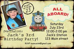 Custom Thomas the Train Birthday Party Invitations
