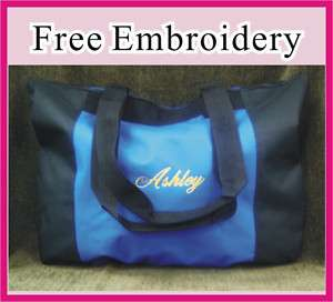 CHRISTMAS GIFT PERSONALIZED BEACH TOTE BAG BLACK WITH BLUE COLOR