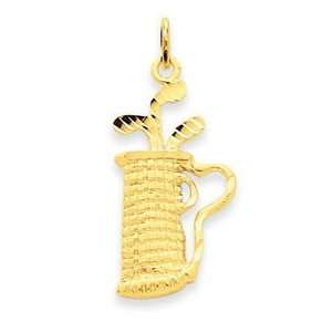 14k Yellow Gold Golf Bag Pendant Jewelry