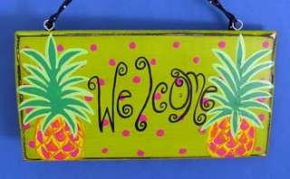 Tropical Beachy Pineapple Welcome Beach Decor Wood Sign
